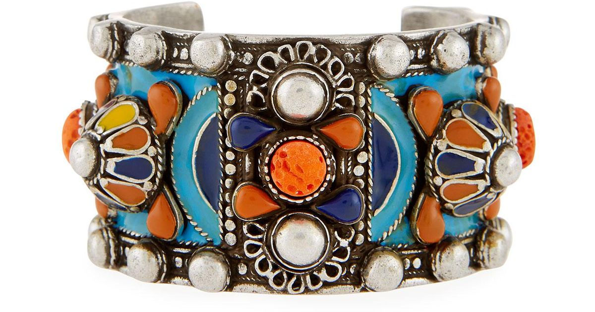Saint Laurent Marrakech Enameled Wide Cuff Bracelet 4kwC20