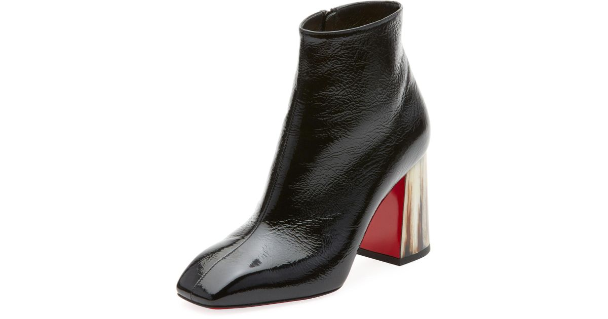 beba84f1f0d Lyst - Christian Louboutin Hilconico Vintage Shiny Red Sole Booties in Black