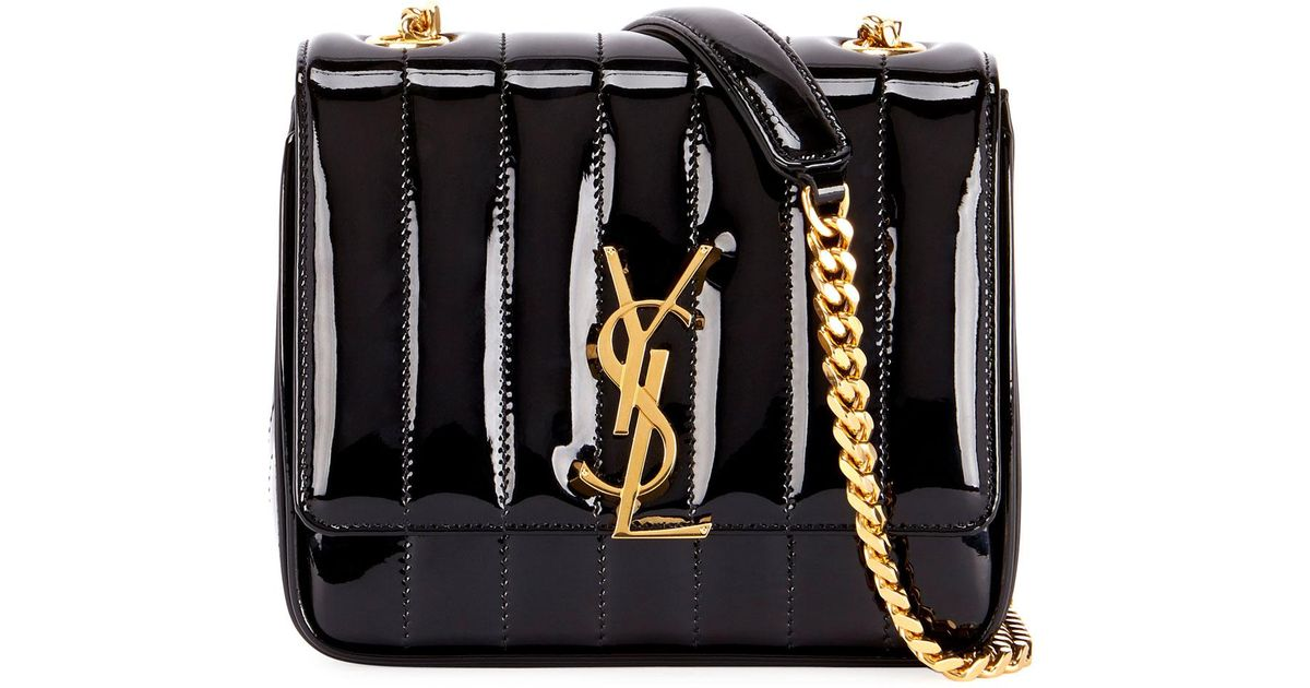 4c1f87c9c0cc Lyst - Saint Laurent Vicky Monogram Ysl Small Quilted Patent Leather  Crossbody Bag in Black