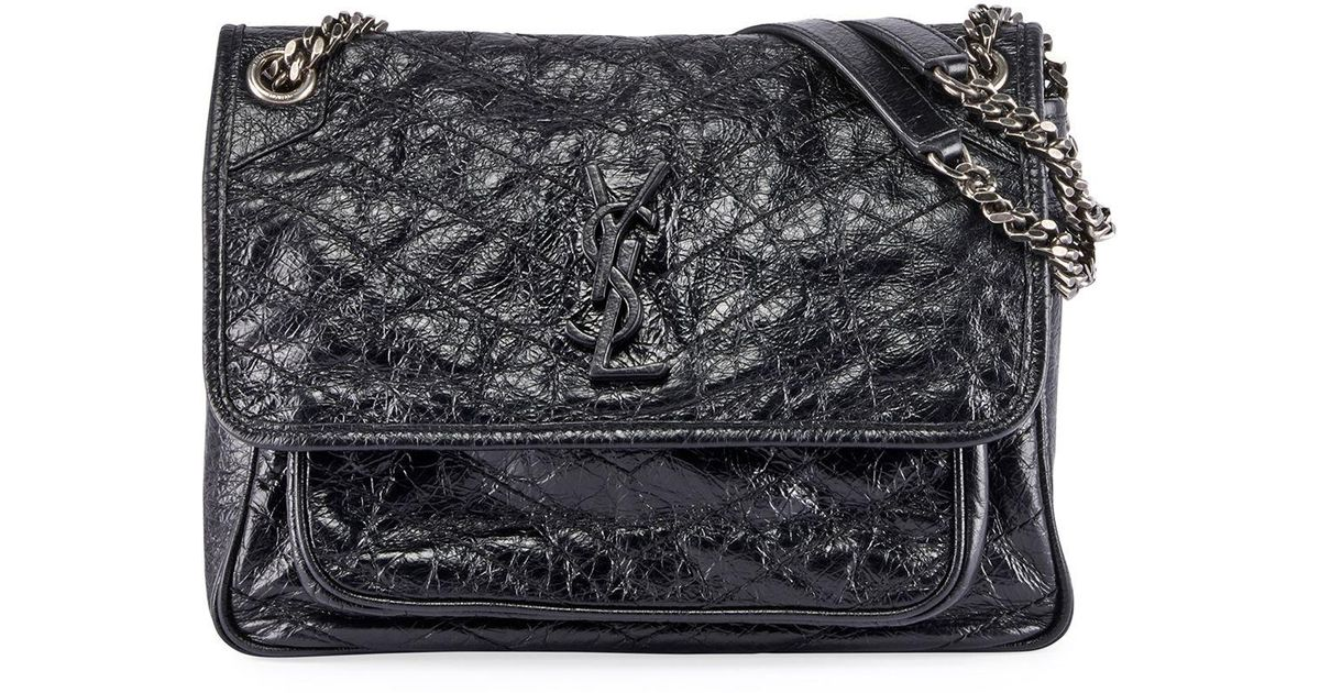 03631acdd7 Saint Laurent Niki Medium Monogram Ysl Shiny Waxy Quilted Shoulder Bag in  Black - Lyst