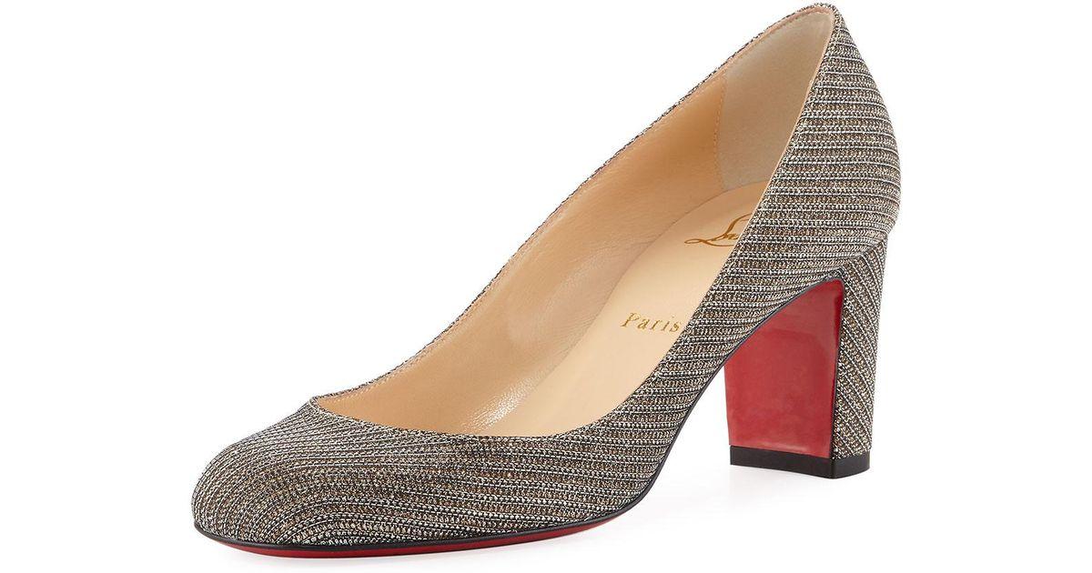 f3df6041856b ... reduced lyst christian louboutin cadrilla glitter block heel red sole  pump in metallic f64e5 baeed