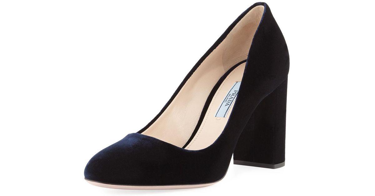 c6c7b08c46a Lyst - Prada Velvet 85mm Block-heel Pump in Blue