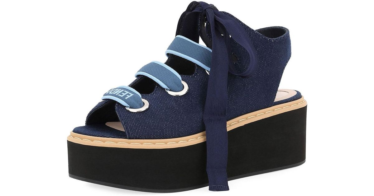 ff0936cf18d74 Lyst - Fendi Denim Lace-up Platform Sandal in Blue