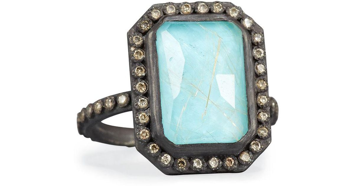 Armenta Old World Midnight Turquoise & Quartz Doublet Ring with Champagne Diamonds hKZR52SD