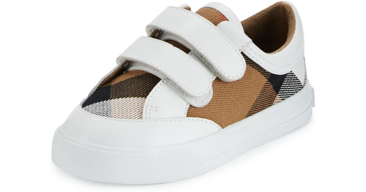 a086b0e39e7a Lyst - Burberry Heacham Check Canvas Sneaker in White for Men