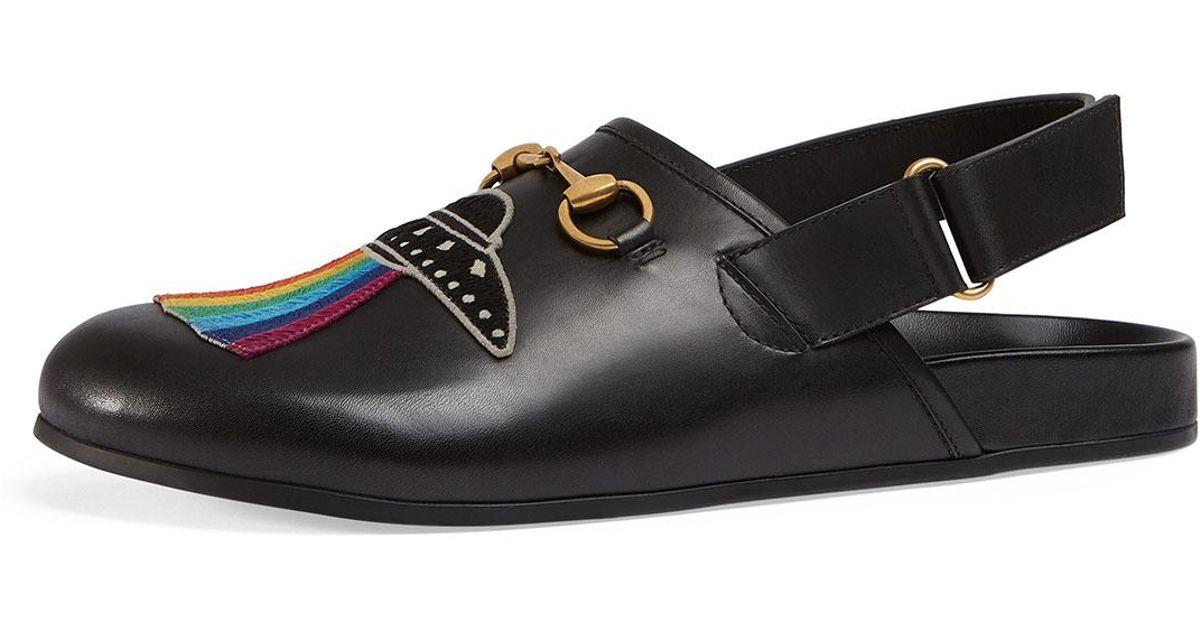 25d952f7fcd Lyst - Gucci River Horsebit Leather Slipper With Appliqu    233s in Black