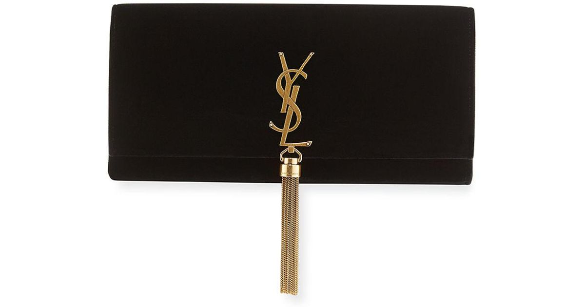 5a3f44febef5 Lyst - Saint Laurent Kate Monogram Ysl Velvet Clutch Bag in Black