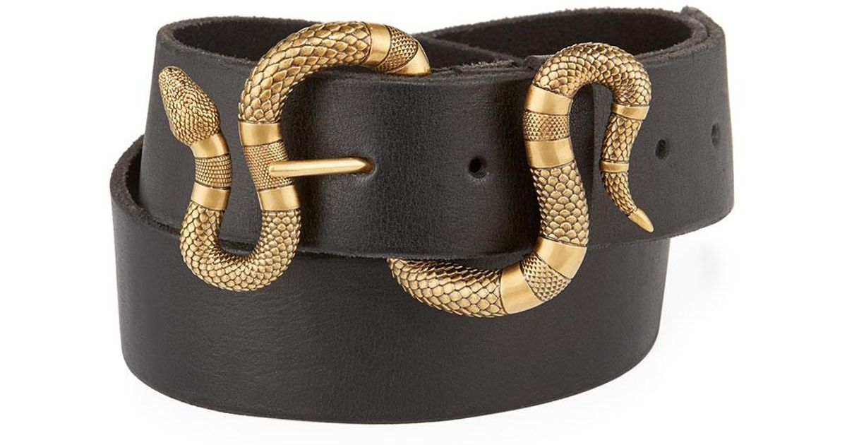 6a1355d7f Gucci Leather Snake-buckle Belt in Black - Lyst