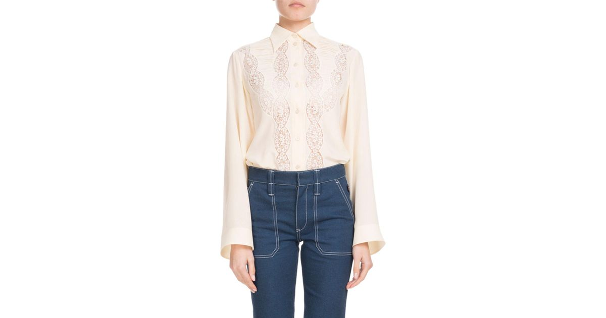 98df858cc2a17 Lyst - Chloé Long-sleeve Button-down Silk Shirt With Lace in White