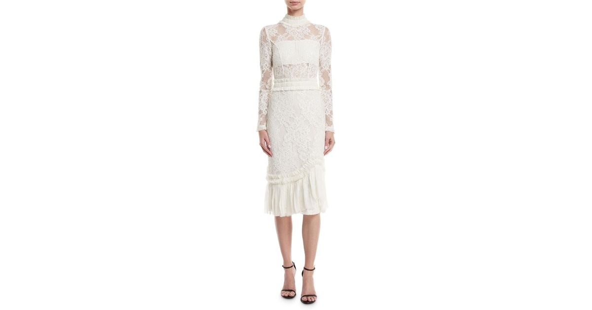 02c00166 Alexis Anabella Mock-neck Long-sleeve Lace Sheath Dress in White - Lyst