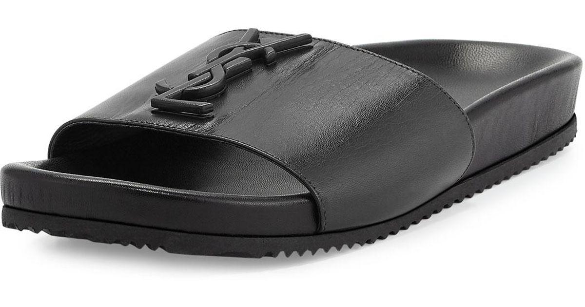 244728712 Lyst - Saint Laurent Joan Ysl Brooch Sport Slide Sandals in Black for Men