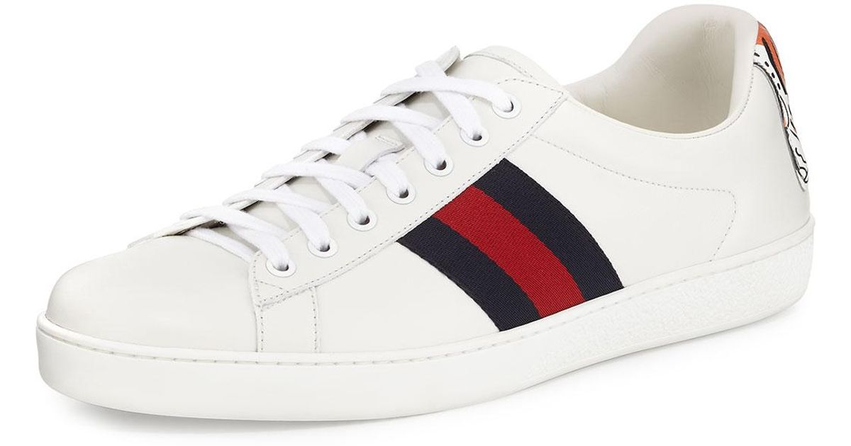 b96a5d960 Gucci New Ace Hanging Tiger Leather Low-top Sneaker in White - Lyst