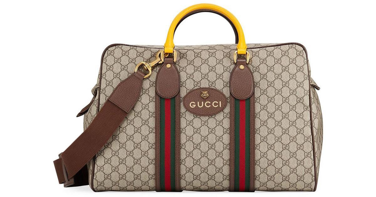 d852480239c8 Gucci Men's Soft Gg Supreme Duffel Bag With Web in Natural for Men - Lyst