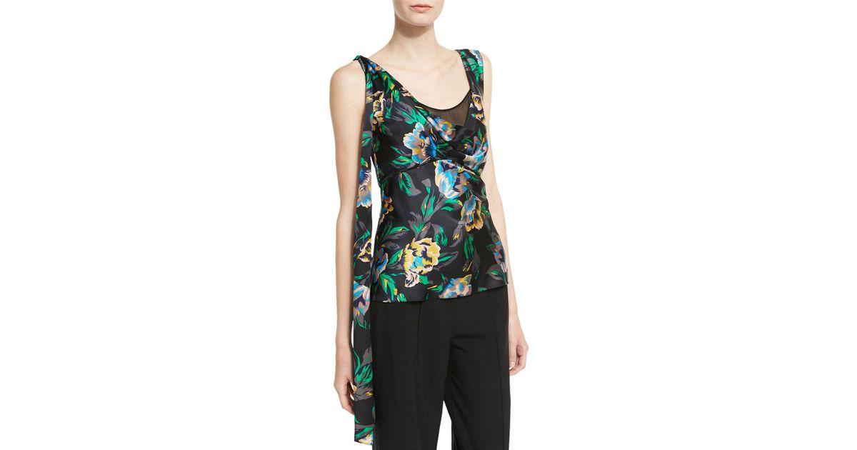 5b7e6dd6d79584 Diane von Furstenberg Sleeveless Shoulder-knot Floral-print Silk Top in  Black - Lyst