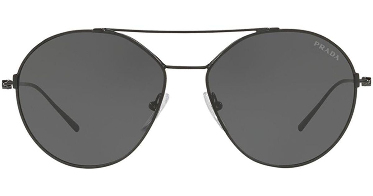 d147df0f607 Lyst - Prada Men s Pr63us Round Metal Aviator Sunglasses in Black for Men
