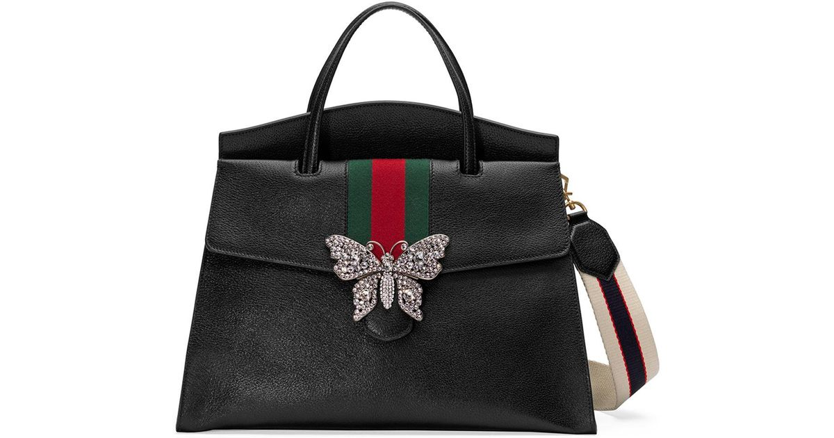 380675ffb7d0 Gucci Linea Totem Large Leather Top-handle Bag With Butterfly & Web Strap  in Black - Lyst