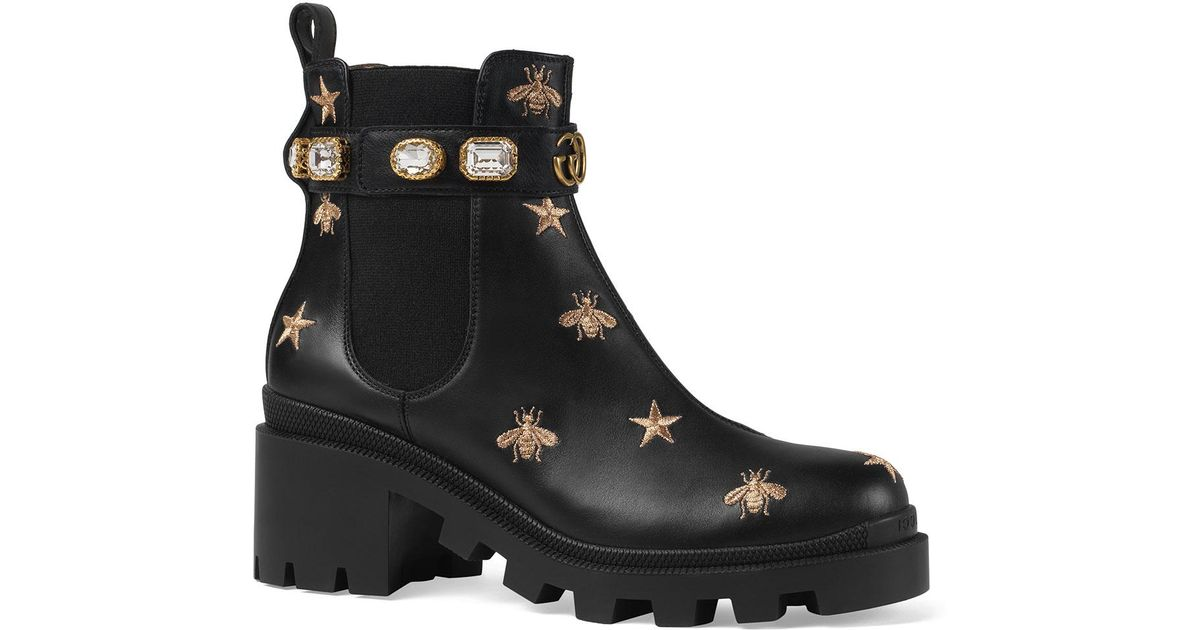 38fd564529f1 Lyst - Gucci Star And Bee Embroidered Boots in Black