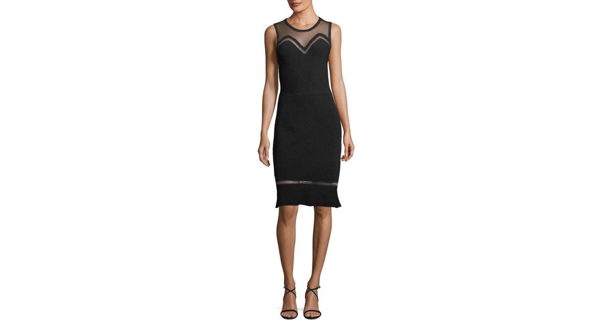e9e36fea2fd4 Elie Tahari Saskia Mesh Inset Sweater Dress in Black - Lyst