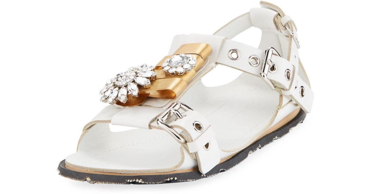 463a4439d760 Lyst - Miu Miu Two-tone Jeweled Flat Sandal in White