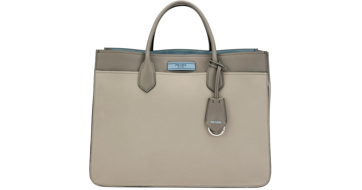 1e3f8f1e7558 Lyst - Prada Etiquette Large City Calf Tote Bag in Gray