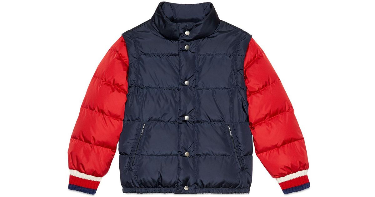 27a7f026a Gucci Quilted Vintage Logo Puffer Jacket W/ Zip-off Sleeves in Blue for Men  - Lyst