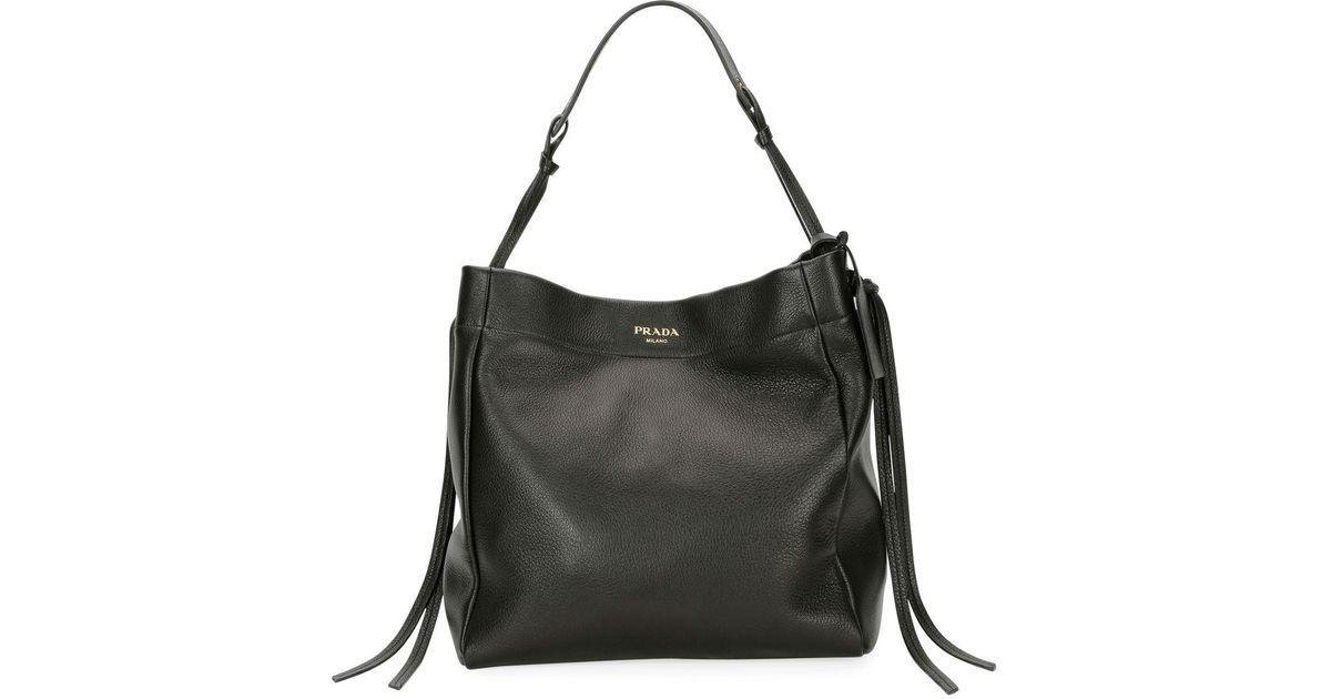 99596e1c1fbd Lyst - Prada Cervo Hobo Shoulder Bag in Black