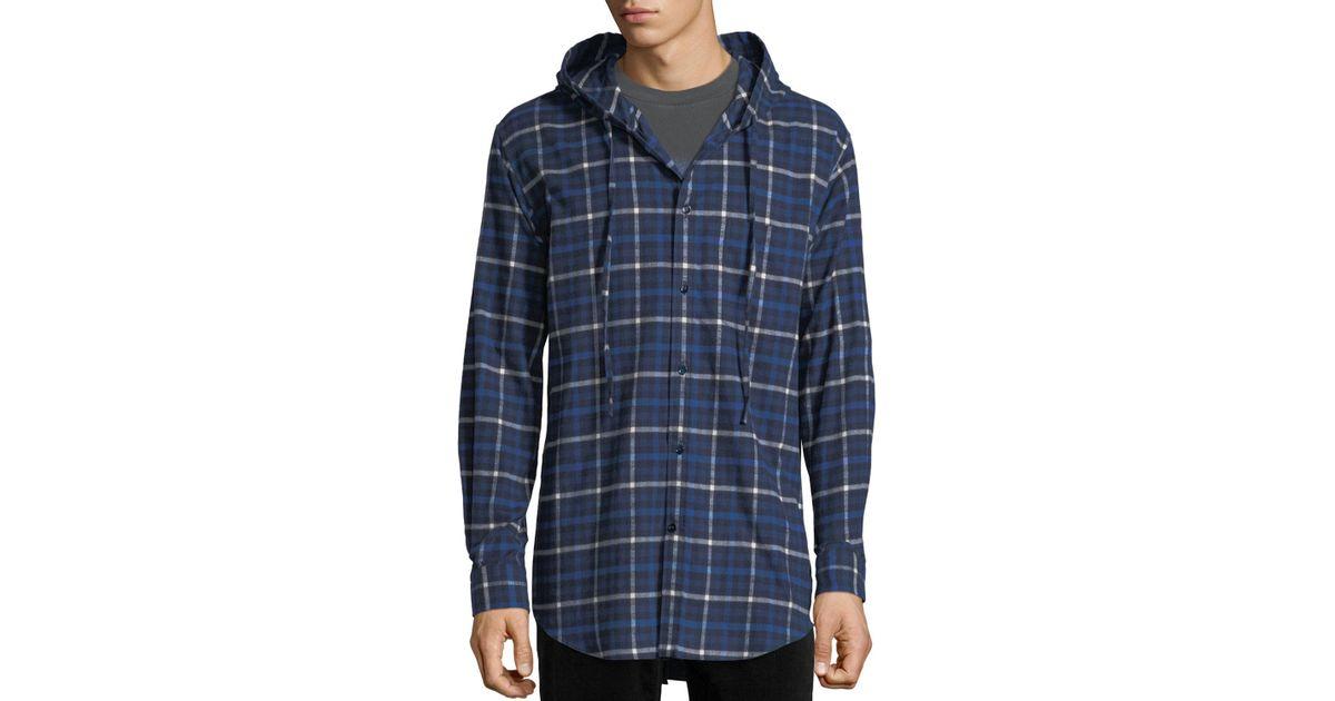 7f055e9a Balenciaga Hooded Plaid Flannel Button-down Shirt in Blue for Men - Lyst