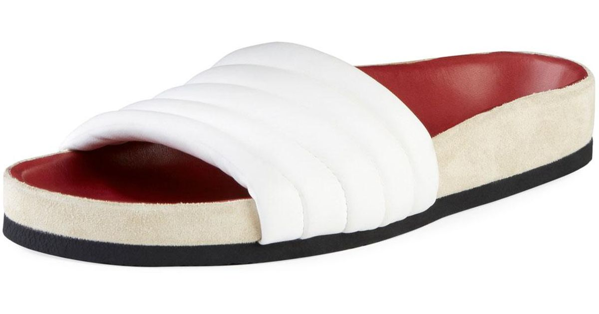 f099e6cfd622 Lyst - Isabel Marant Hellea Quilted One-band Slide Sandal in White