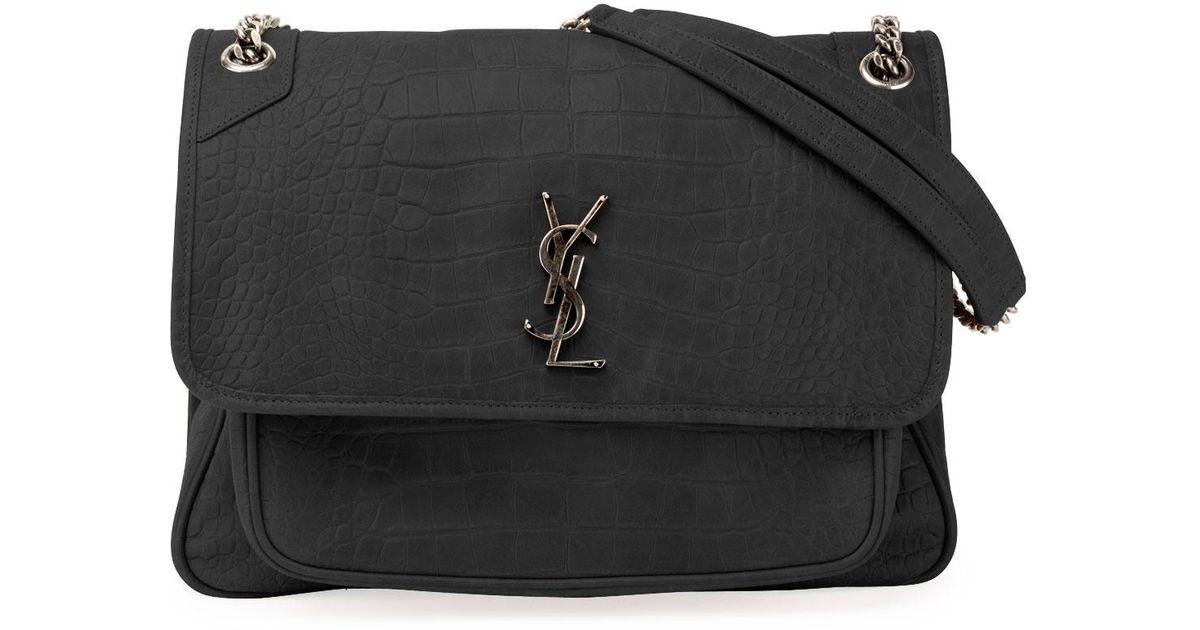3320b8517e3 Lyst - Saint Laurent Niki Monogram Ysl Large Crocodile-embossed Shoulder Bag  in Black
