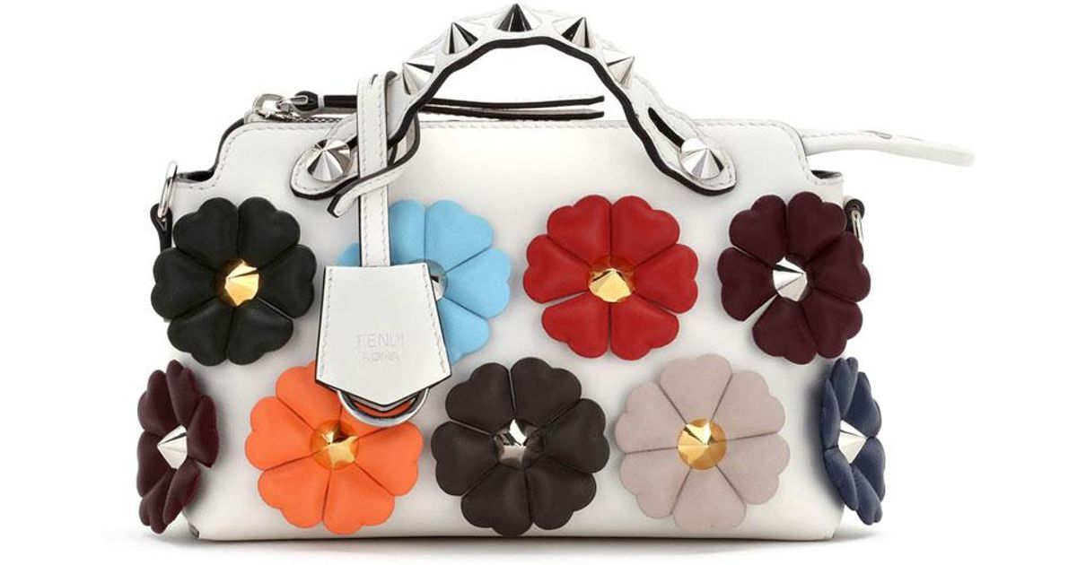 3ca8e3836d ... coupon code lyst fendi small by the way studded flower satchel bag  f8c41 ebee4