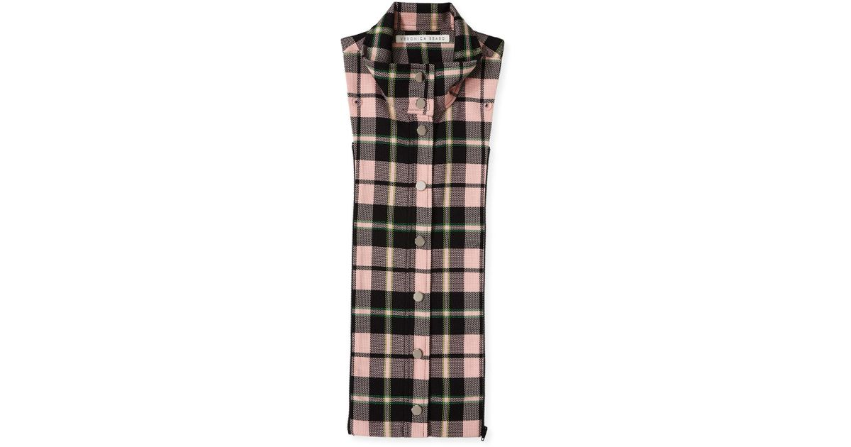 3b1fbb7beca Lyst - Veronica Beard Zola Snap-front Plaid Dickey