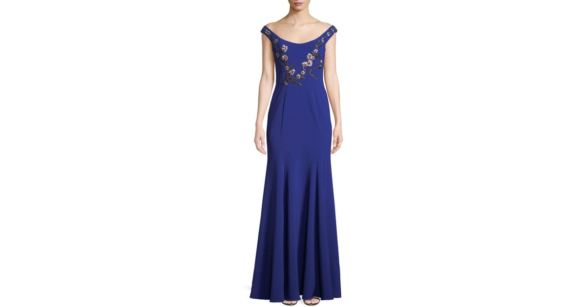 dfd9bd24 Lyst - Marchesa notte Stretch Crepe Off-the-shoulder Gown in Purple