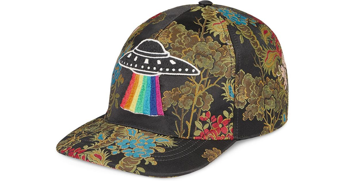 Lyst - Gucci Floral Baseball Cap With Ufo in Green for Men fa5fbd390a6