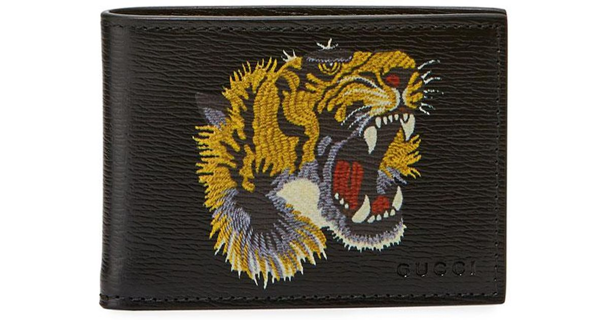 af26c71cc11 Lyst Gucci Bestiary Embroidered Tiger Face Leather Wallet In Black