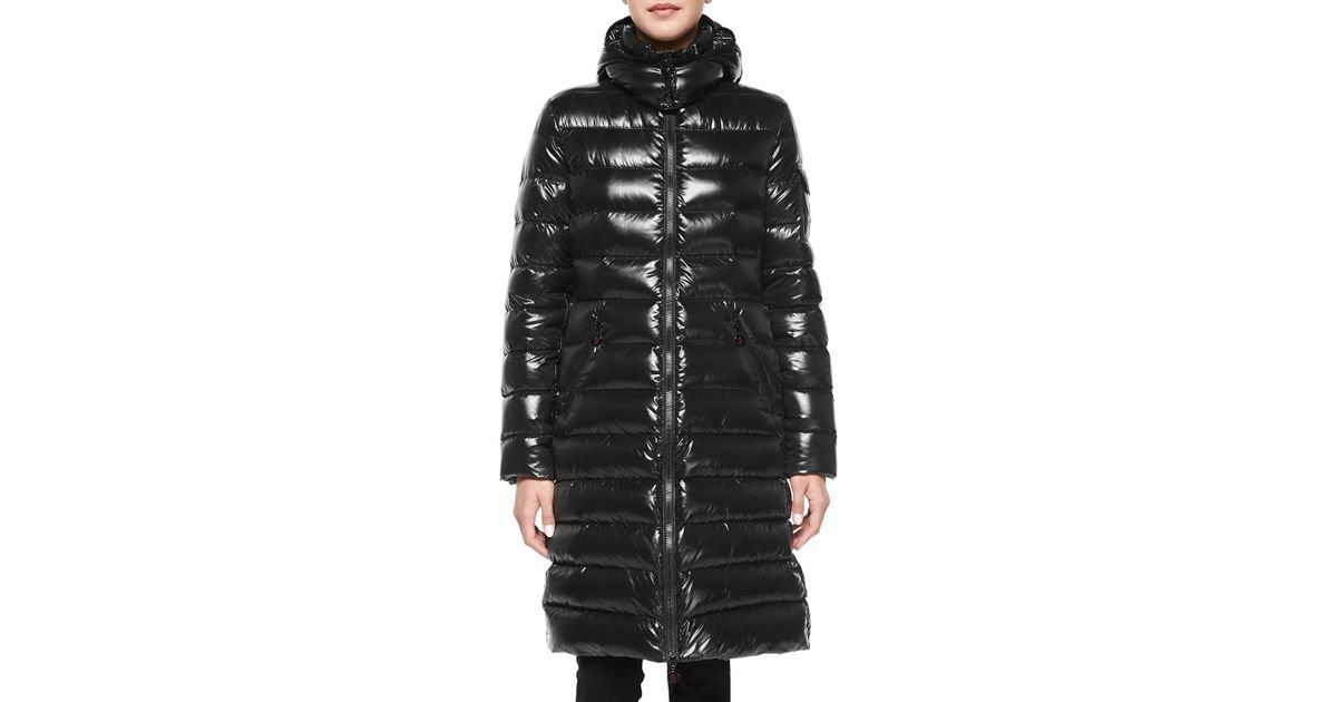 e498c7074fce Lyst - Moncler Moka Shiny Fitted Puffer Coat With Hood in Black