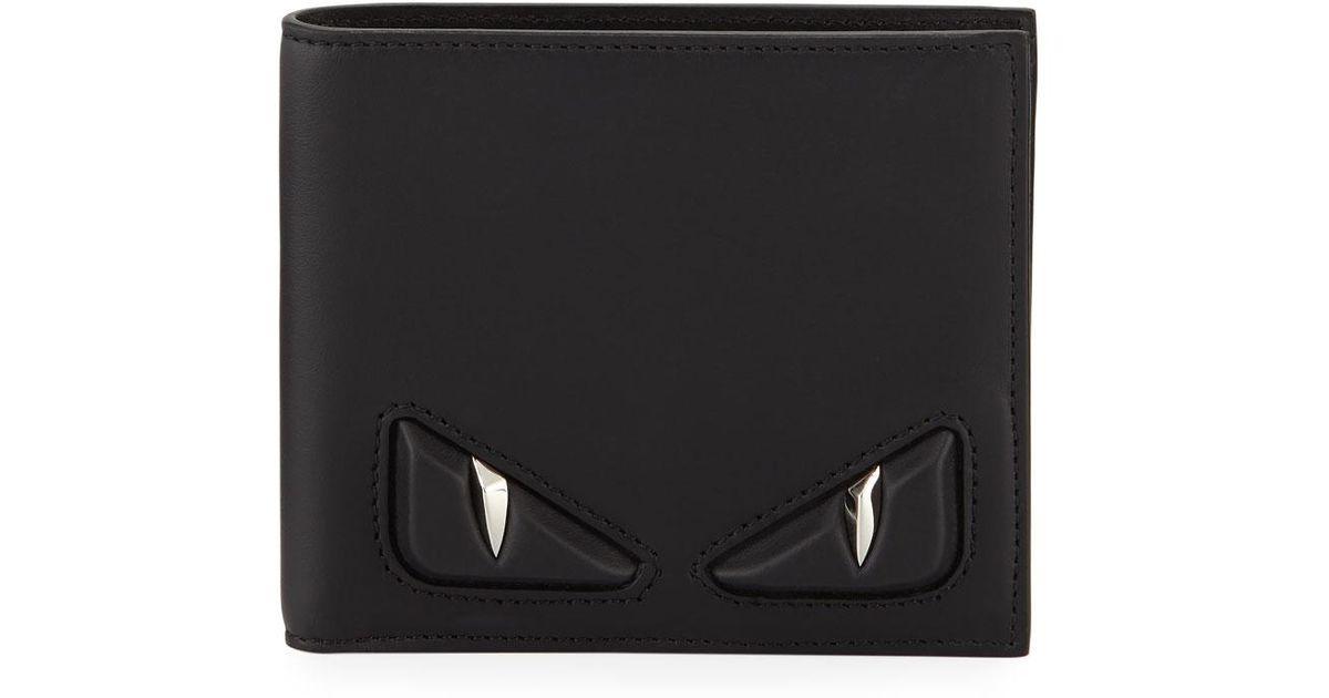 af713dfd4b Fendi Embossed Monster Eye Bi-fold Wallet in Black for Men - Lyst