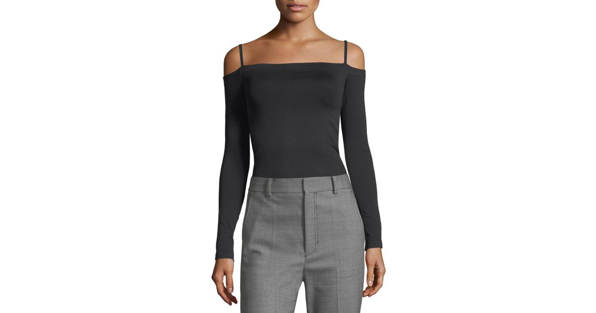 31c8614eea6f0f Lyst - Helmut Lang Off-the-shoulder Long-sleeve Seamless Top in Black