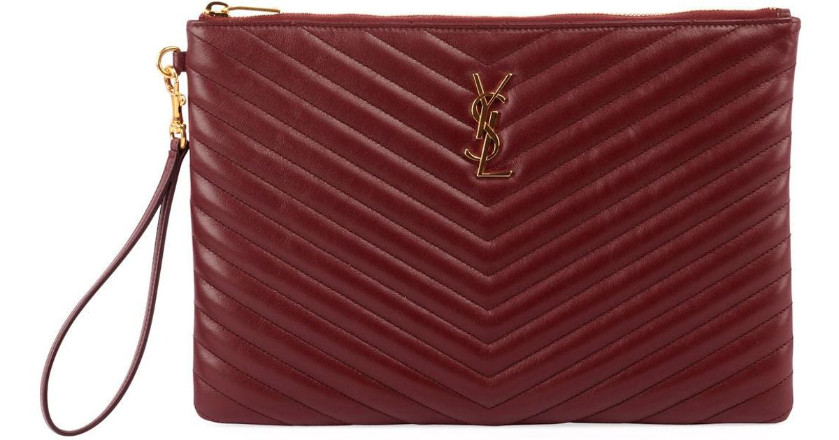 011bca60ae Lyst - Saint Laurent Monogram Ysl Quilted Leather Tablet Pouch Bag in Red