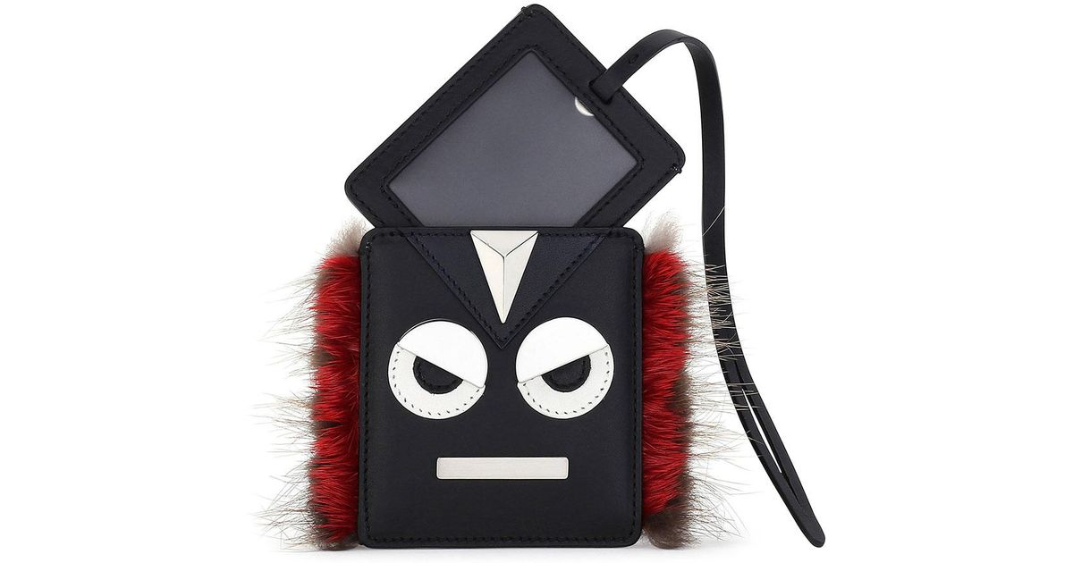 52f1baf25f00 Lyst - Fendi Monster Face Fur-trim Luggage Tag in Black
