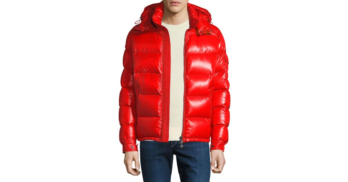 c140c4832c67 Lyst - Moncler Men s Maya Shiny Down Puffer Jacket With Hood in Red ...