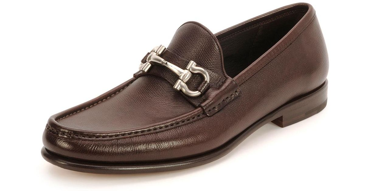 a7b7567fa71a8 Lyst - Ferragamo Mason Textured Calfskin Gancini Loafer in Brown for Men