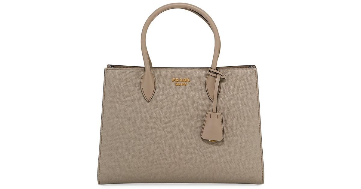 f69b95206048 Lyst - Prada Large Bicolor Saffiano Side-pleat Tote Bag in Brown - Save 5%