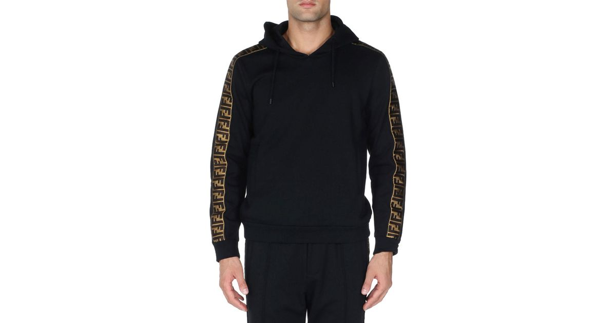 c1694a2b913f Lyst - Fendi Felpa Logo-trim Pullover Hoodie in Black for Men