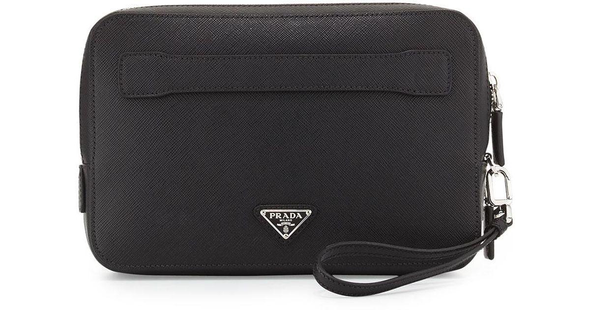 ... usa lyst prada saffiano mens clutch bag in black b41fd 515f1 ... 9105f7d9c5c5f