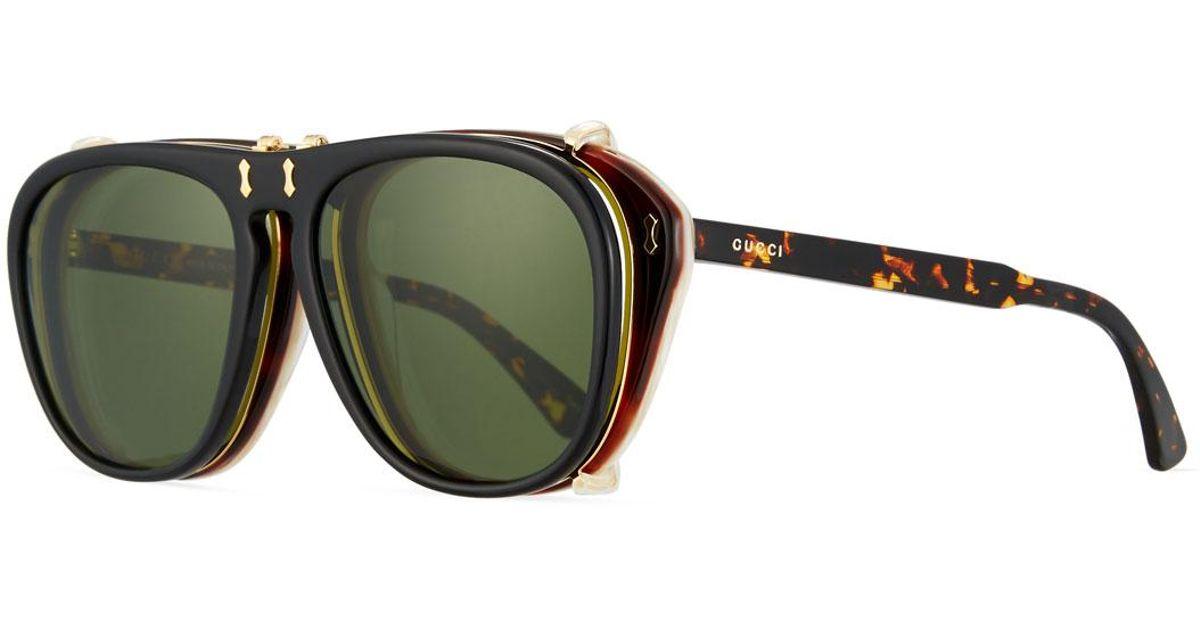 924cea05fd0 Lyst - Gucci Men s Acetate Aviator Optical Frames W  Sunglasses in Brown  for Men