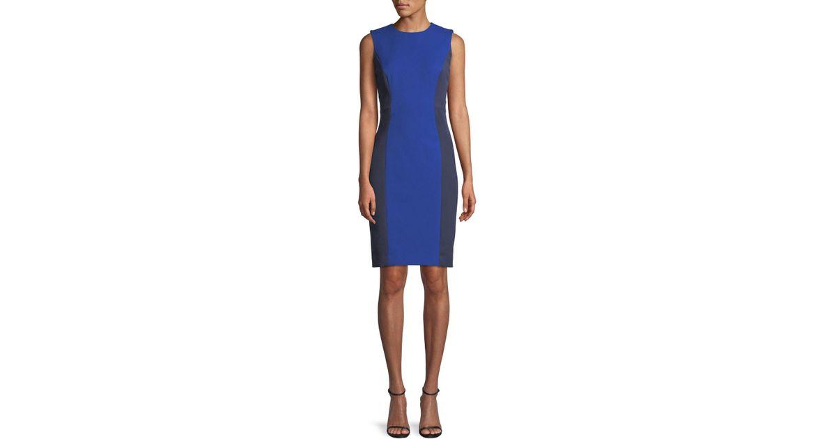 183eb316 Lyst - MILLY Sleeveless Colorblock Scuba Dress in Blue