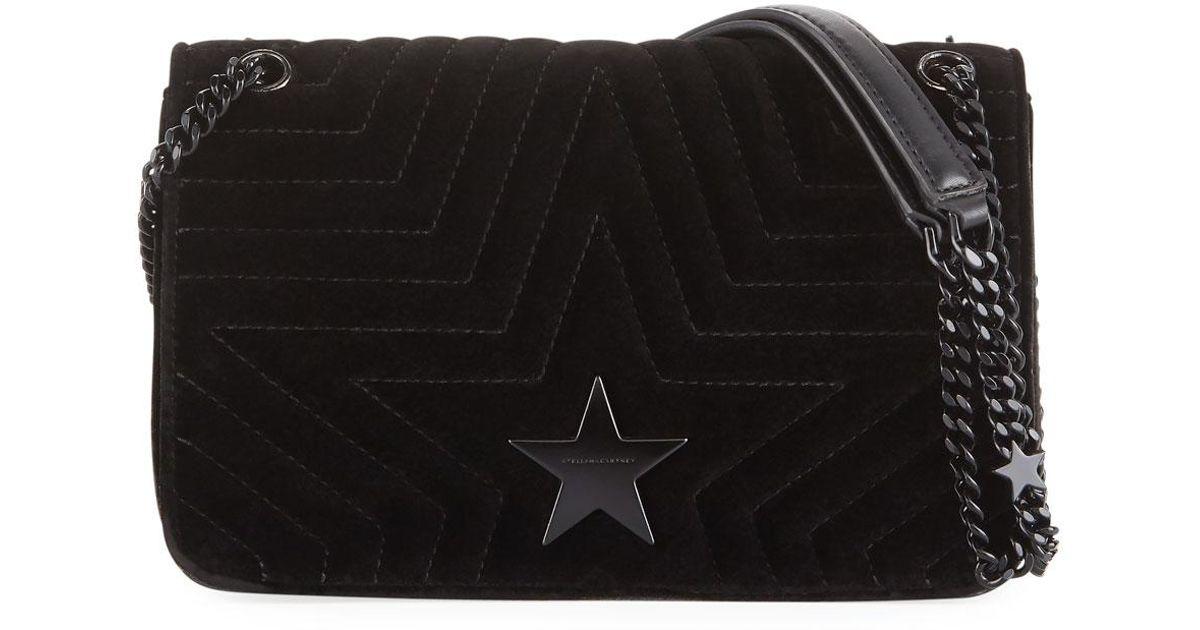 Lyst - Stella McCartney Velvet Star Medium Shoulder Bag in Black cba8b63f2d6ac