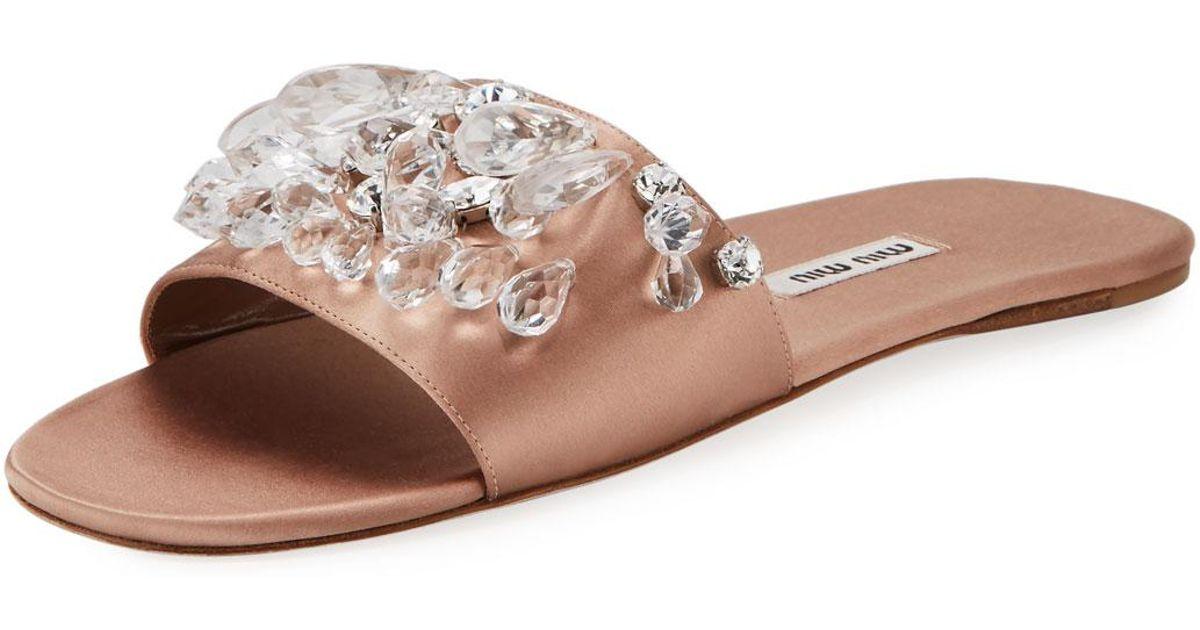 700d630fb5003 Lyst - Miu Miu Jeweled Satin One-band Slide Sandal in Black