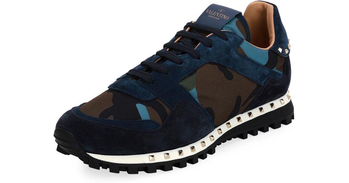 9d0e1c59e5da Lyst - Valentino Rockrunner Camo Neoprene   Suede Trainer Sneaker in Blue  for Men