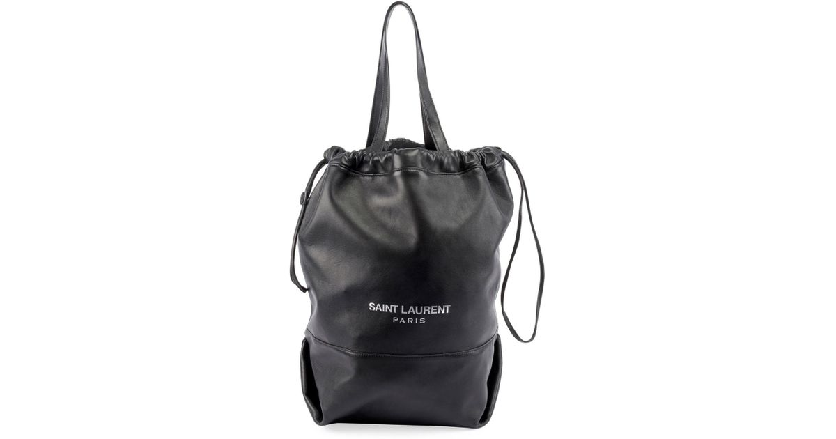 2ab0a855d7 Lyst - Saint Laurent Teddy Drawstring Shopping Tote Bag in Black